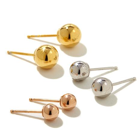 Pport To Gold 14k Tri Color Stud Earrings