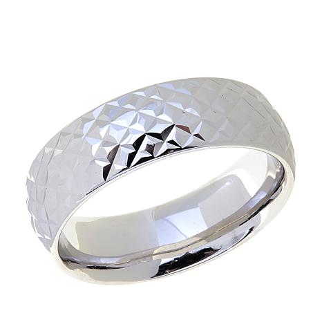 Passport to Gold 14K White Gold Diamond-Cut Band Ring