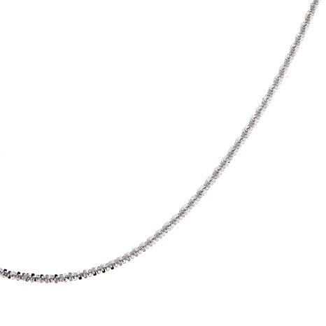 "Passport to Gold 14K White Sparkle Crisscross 16"" Chain"
