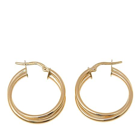 Pport To Gold 14k Yellow Double Hoop Earrings