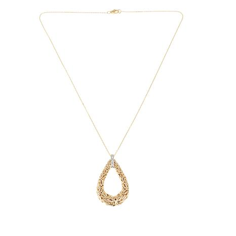 Passport to Gold Diamond-Accented 14K Byzantine Teardrop Pendant