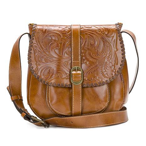Patricia Nash Barcellona Tooled Leather Saddle Bag