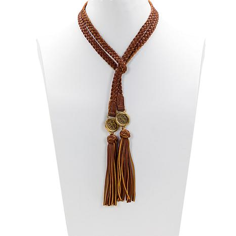 """Patricia Nash Cara 52"""" Braided Leather Lariat Wrap Necklace"""