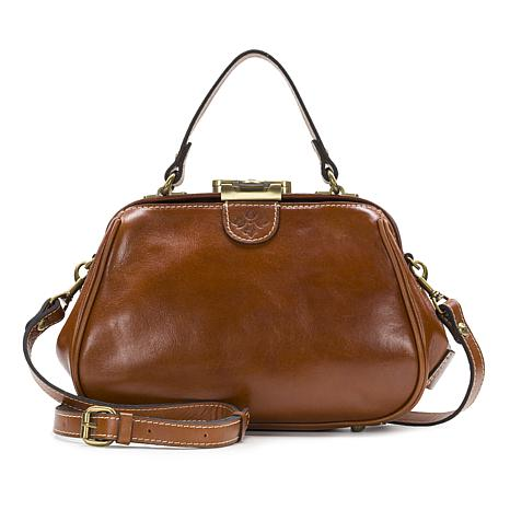 Patricia Nash Gracchi Leather Tooled Frame Satchel