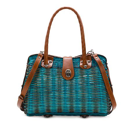 Patricia Nash Lucena Spring Wicker Satchel with Leather Trim