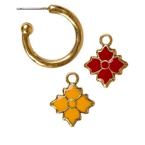 Patricia Nash Reversible Enamel Floret Drop Earrings