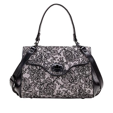 Patricia Nash Verga Chantilly Lace Leather Frame Satchel