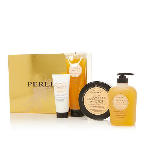 Perlier Honey 4-piece Bath and Body Set with Box