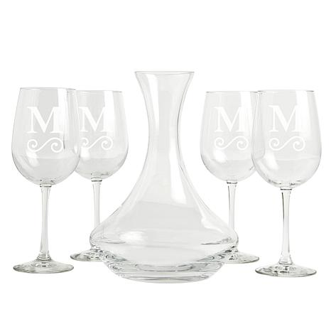 Personalized 5-Piece Wine Entertaining Set - Initial & Swirl