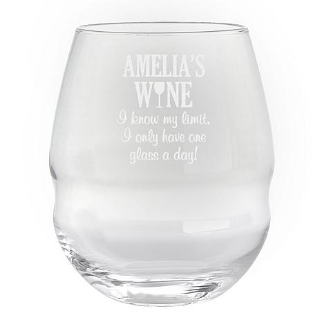"Personalized ""I Know My Limit"" 26 oz. Colossal Stemless Wine Glass"
