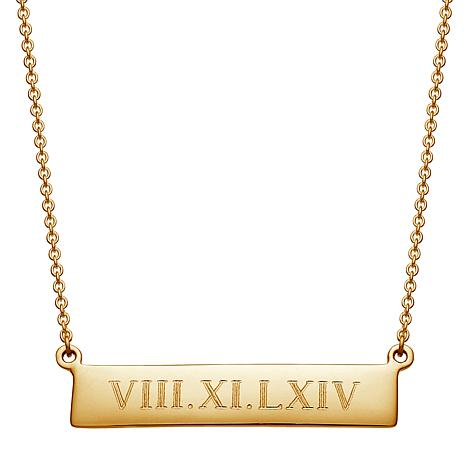 "Personalized Roman Numeral Bar Drop 18"" Necklace"