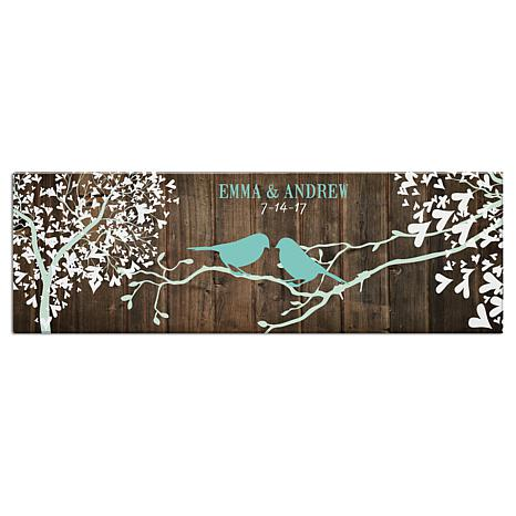 "Personalized Sweet Lovebirds Canvas - 9"" x 27"""