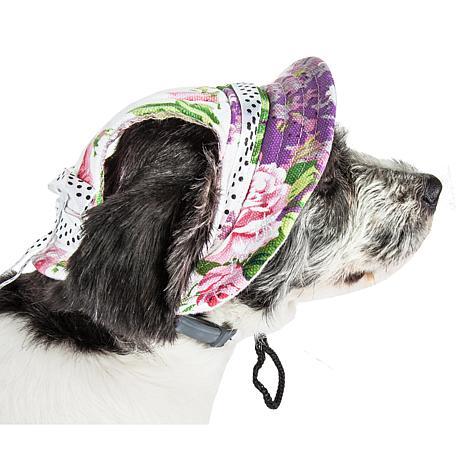Pet Life Botanic Bark Floral Adjustable Canopy Brim Dog Hat - Large