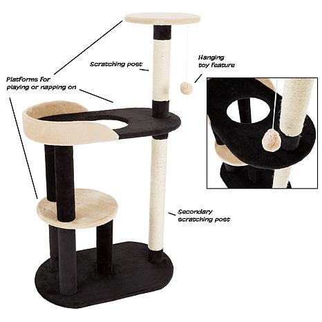 petmaker 3tier cat tree with 2 scratching posts