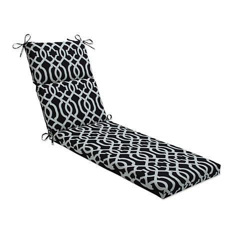 Pillow perfect chaise lounge cushion new geo black white for Black and white chaise lounge cushions