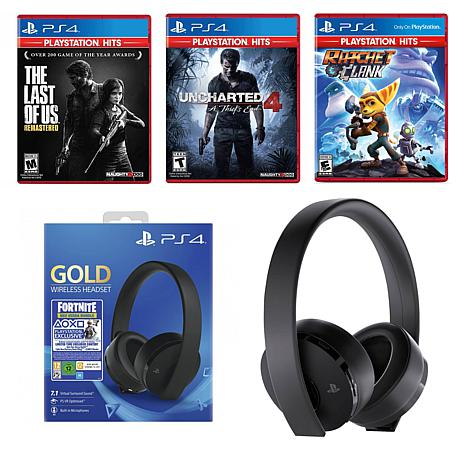 Playstation 4 with Fortnite Headset Bundle with The Last of Us, Unc...