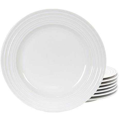 "Plaza Cafe 10.5"" Dinner Plate Set in White, Set of 8"