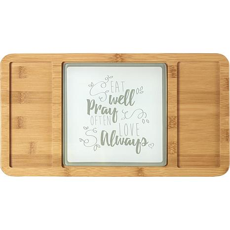 Precious Moments Bamboo Eat Well Pray Often Love Always Cheeseboard