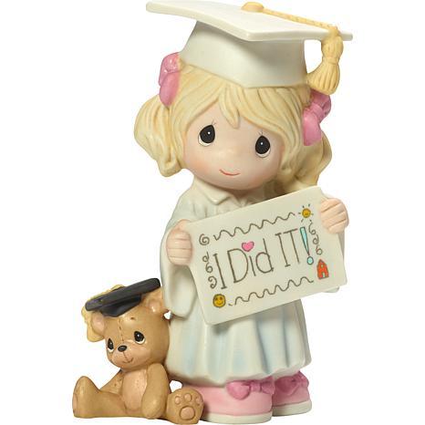 "Precious Moments ""I Did It"" Graduation Girl With Teddy Bear Figurine"