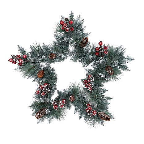 "Puleo International 30"" Sterling Pine Star  Wreath with Silver Glitter"