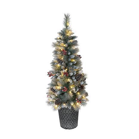 Puleo International 4.5' Pre-Lit Potted Glitter Premium Pine Tree