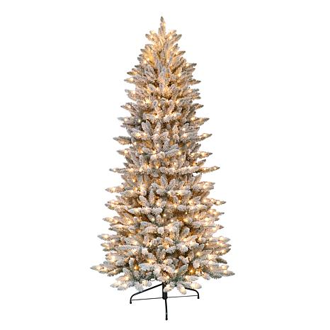 New Puleo International 7 5 Pre Lit Flocked Slim Fir Christmas Tree