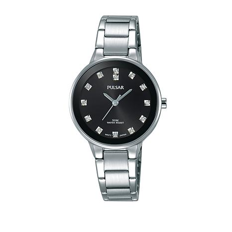 Pulsar Ladies Stainless Steel Bracelet Watch with Crystal Markers
