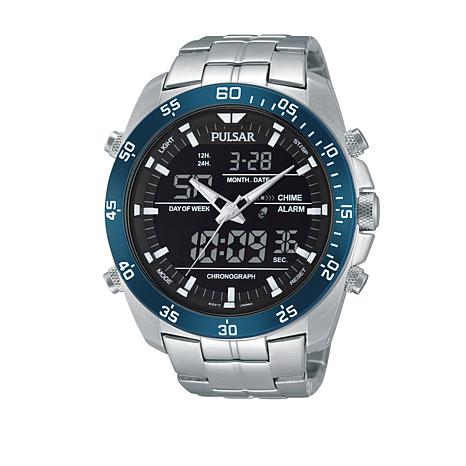 Pulsar Men's Digital Stainless Steel Bracelet Watch