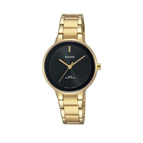 Pulsar Women's Goldtone Black Dial Bracelet Watch