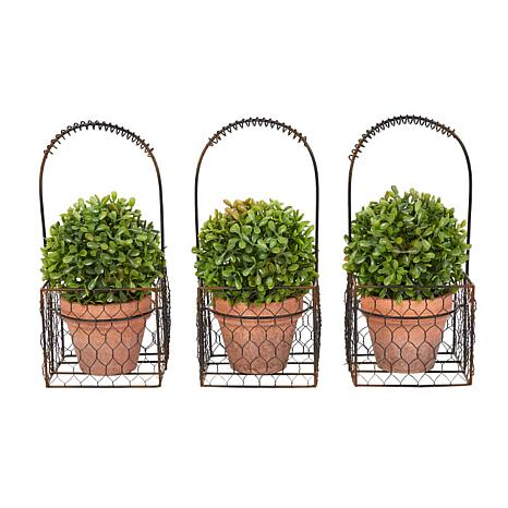 Pure Garden 3-Piece Faux Boxwood Round Topiary in Metal Basket
