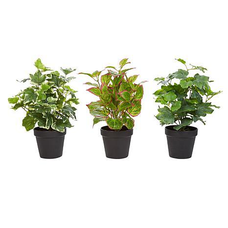 Pure Garden 3-Piece Life-like Potted Faux Foliage Arrangement
