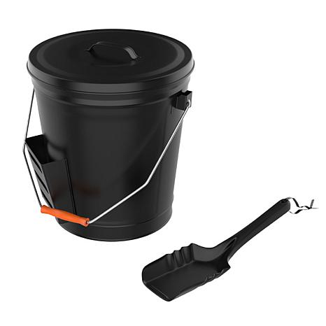 Pure Garden 4.75-Gallon Black Ash Bucket with Lid and Shovel