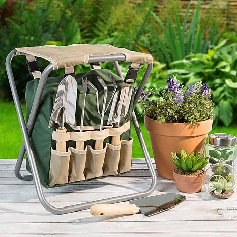 Pure Garden Folding Garden Stool With Tool Bag And 5