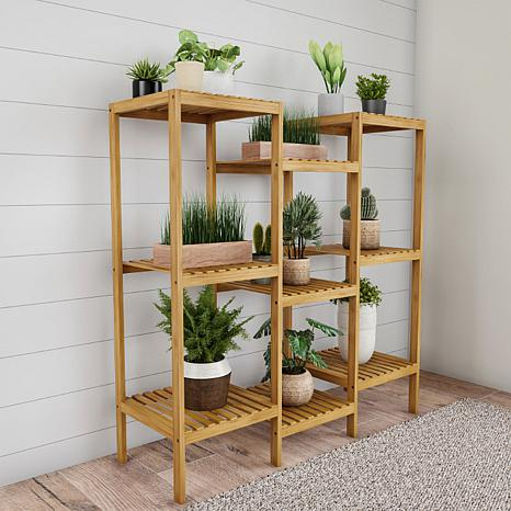 Pure Garden Multi-Level Freestanding 9-Shelf Bamboo Plant Stand