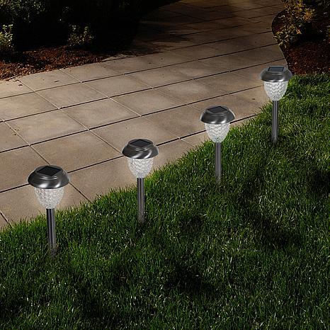 Pure Garden Solar-Powered Glass Lights Set of 6 - 1.1 Lumen
