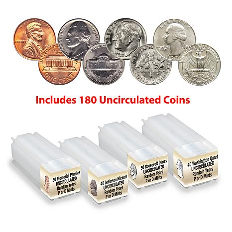 Random BU Penny, Nickel, Dime and Quarter 4-Roll 180-Coin Set