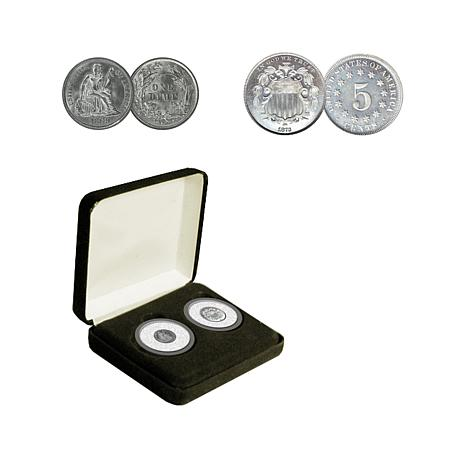 Random Year Seated Dime and Shield Nickel Coin Set