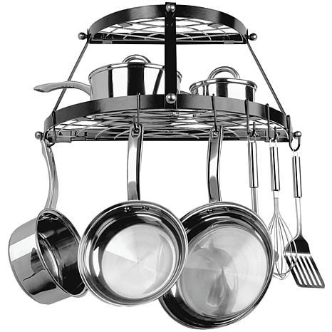 Range Kleen Stainless Steel Wall-Mount Pot Rack - Black