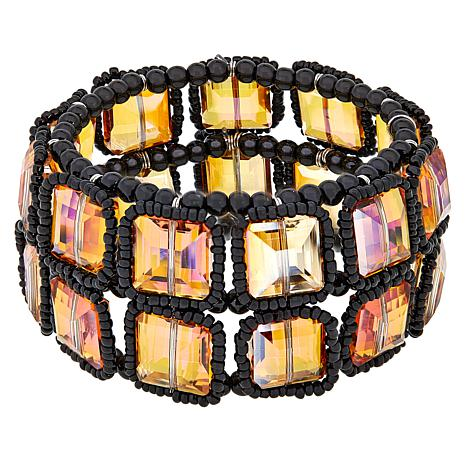 Rara Avis by Iris Apfel  Beaded Outline Stretch Bracelet