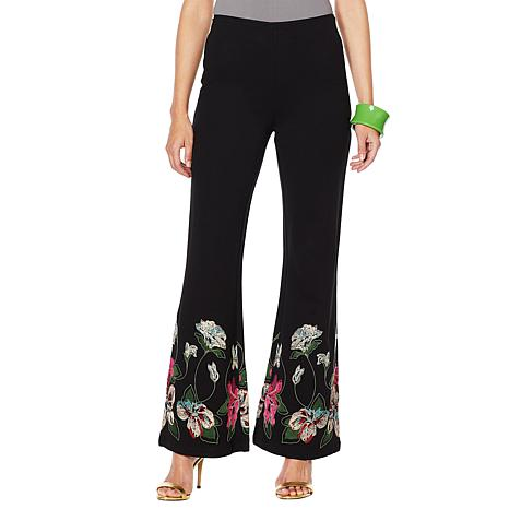 Rara Avis by Iris Apfel Knit Pant with Embroidery