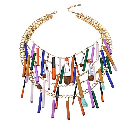 "Rara Avis by Iris Apfel Paintbrush 22"" Bib Necklace"