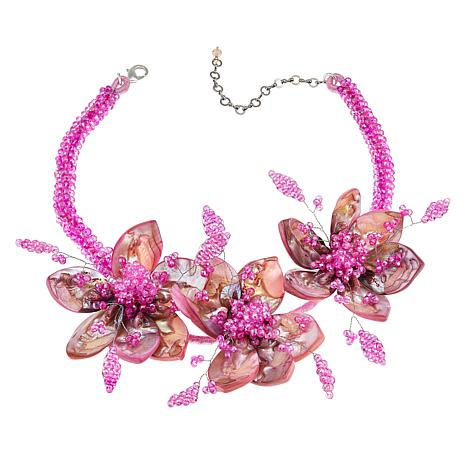 Rara Avis by Iris Apfel Pink Mother-of-Pearl Beaded Floral Necklace