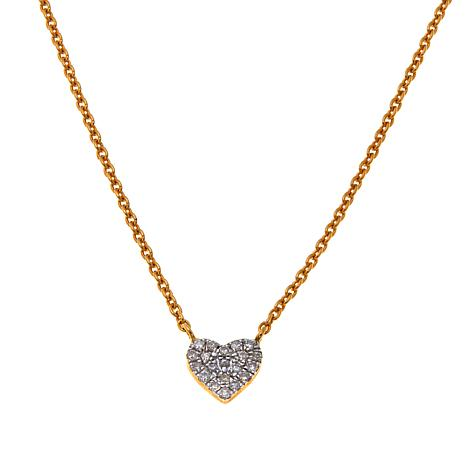 "Rarities 14K 0.15ctw Diamond Heart 16"" Necklace"
