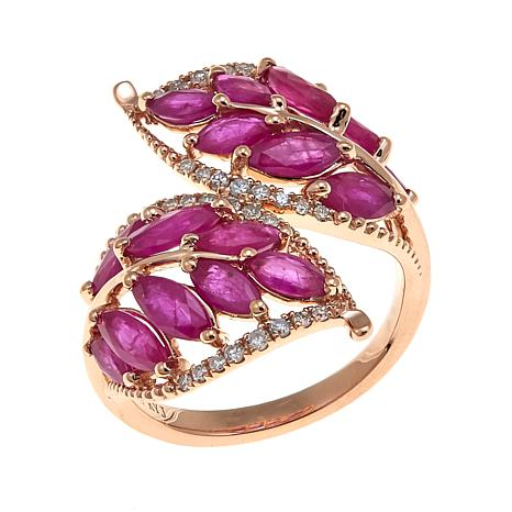 Rarities 14K Gold Gemstone Leaf Bypass Ring
