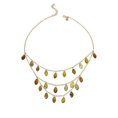 "Rarities 18"" Gold-Plated Grossular Garnet Multi-Row Dangle Necklace"