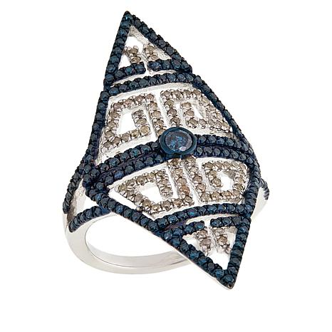 "Rarities 1cttw Blue and White Diamond ""Tattoo"" Ring"