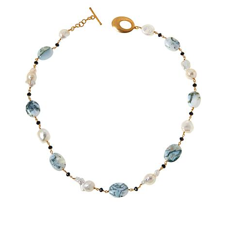 """Rarities 20-1/16"""" Goldtone Opal, Cultured Pearl and Gemstone Necklace"""