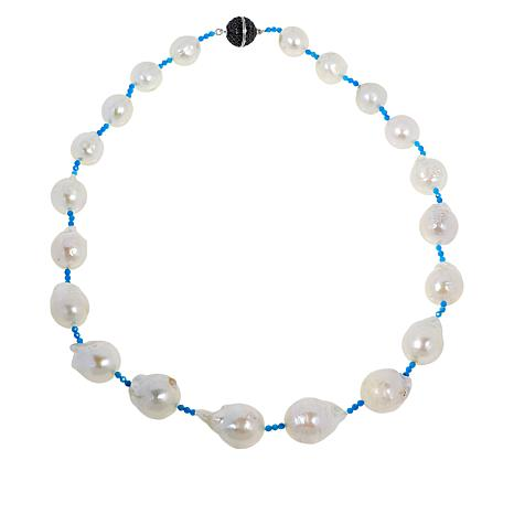 "Rarities 20"" Cultured Pearl & Howlite Necklace with Black Spinel Clasp"