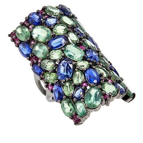 Rarities 21.8ctw Green and Blue Kyanite and Ruby Mosaic Ring