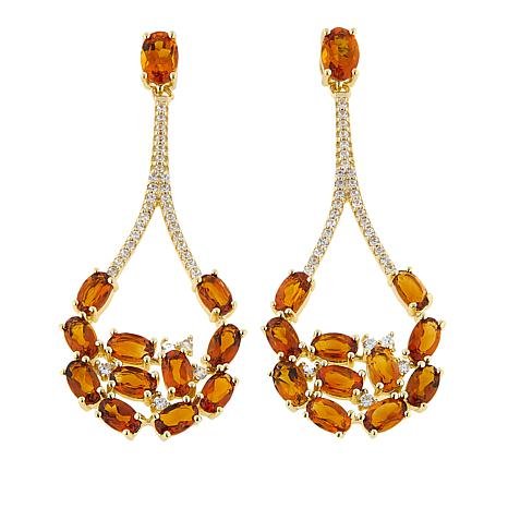 Rarities 5.14ctw Citrine and White Zircon Open Teardrop Earrings